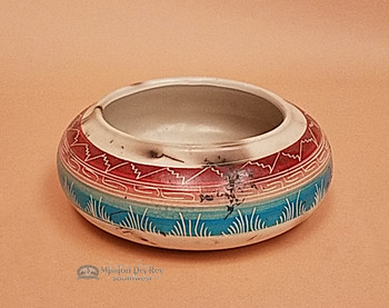 Indian Pottery Etched Clay Horse Hair Bowl 7x3 -Navajo