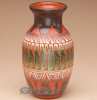 "Indian Navajo Etched Pottery Vase 6"" -Hand Etched (p336)"