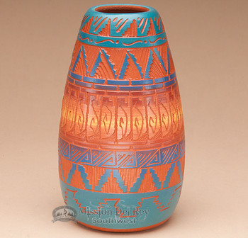 "Indian Pottery Etched Clay Vase 5.5"" -Navajo (p338)"