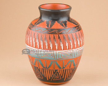Indian Pottery Etched Clay Vase 4x6 -Navajo (p344)