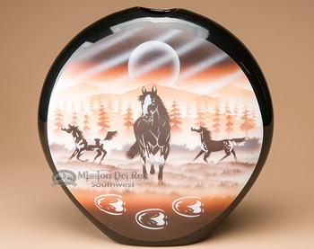 "Native Navajo Flat Pottery Pillow Vase 11"" -Horses (nap355)"