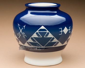"Native Sioux Harvest Vase 6.5"" -Oglala Blue Glazed (p633)"