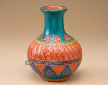 "Native American Navajo Etched Vase 5.75"""