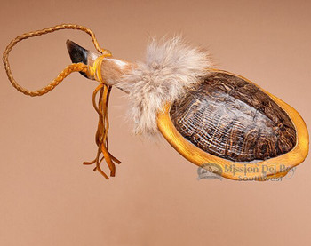 Navajo turtle shell rattle with a deer hoof handle