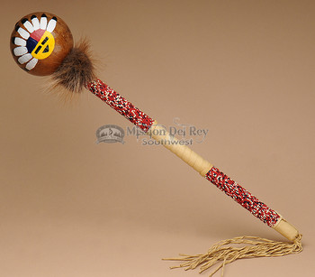 Native American Creek Painted Gourd Rattle
