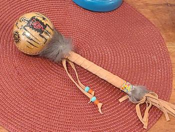 Native Rawhide Navajo Painted Rattle