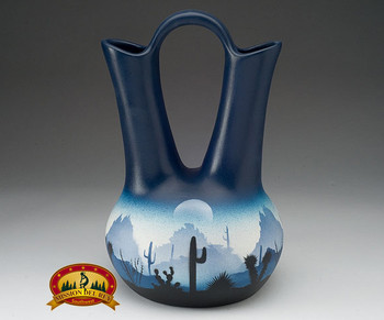 Large Navajo wedding vase pottery. Sonora Desert Blue