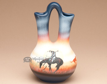 "Native American Navajo Wedding Vase 6.5"" -End Of Trail"