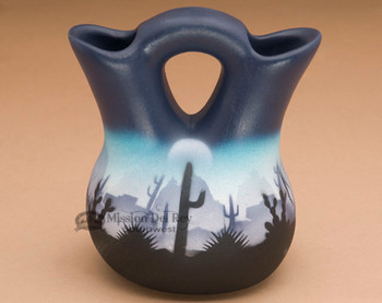 Painted Navajo Wedding Vase -Desert Blue