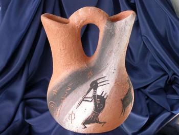 "Native American Wedding Vase 8.5"" -Etched Rock Art (94)"