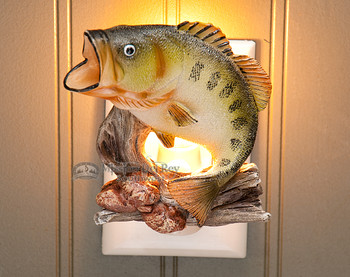 Rustic Fishing Cabin Night Light -Bass (n8)