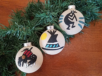 Native American Christmas Ornaments Set - Sand Paintings
