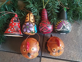 Andean Etched Gourd Ornaments - 6 Piece Set