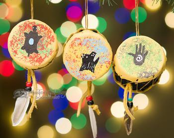 Deerskin Drum Ornaments - 3 Piece Set
