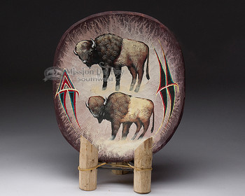 Hand Carved Painted Wooden Bowl - Buffalo