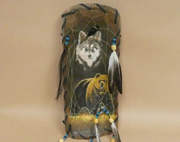Dreamcatcher Painted Bowl - Bear/Wolf Combo