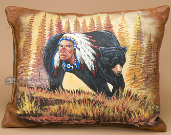 Hand Painted Cowhide Pillow -Native Bear