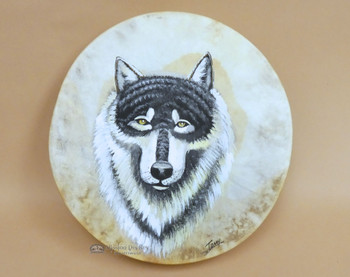 Wolf painted on hand drum.