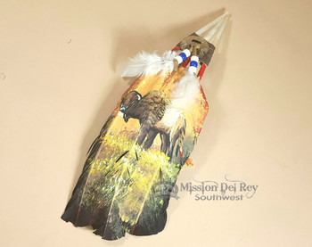 Native American Style Painted Feathers -Golden Buffalo