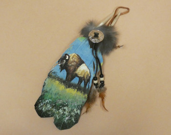 Native American Style Painted Feathers -Buffalo