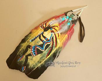 Hand Painted Feathers - Kokopelli