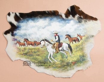 Painted Western Cowhide - Cattle Trail