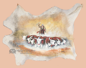 Goat Hide Hand Painted - Round-Up