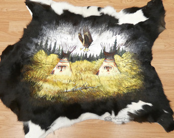 Southwest Decor Painted Cow Hide - Indian Village
