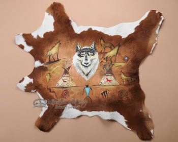 Medium Cowhide Painted - Wolf & Cave Art
