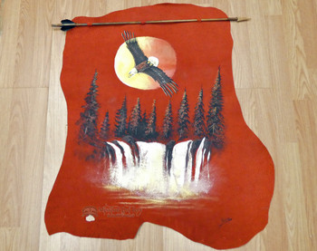 Indian Arrow with Hand Painting - Sunset Eagle Over Waterfall