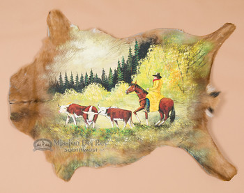Hand painted hide - Stray Steers.