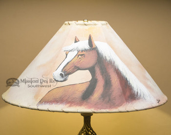 """20"""" Painted Leather Lamp Shade -Horse"""