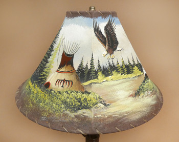 """Painted Leather Lamp Shade -Indian Teepee 16"""""""