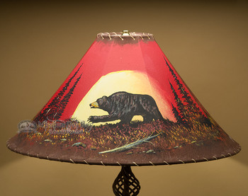 "Painted Leather Lamp Shade 22"" -Moon Lit Bear"