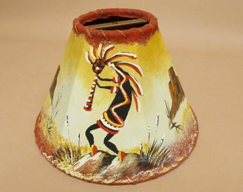 """Southwest Painted Leather Lampshade 10"""" Kokopelli"""