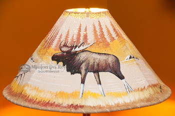"""20"""" Painted Leather Lamp Shade -Moose"""