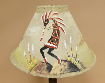 "16"" Painted Leather Lamp Shade -Kokopelli"