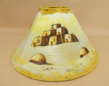 Painted Leather Lampshade -Pueblo