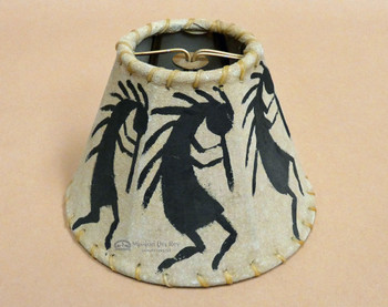 Hand Painted Leather Lampshade -Front View
