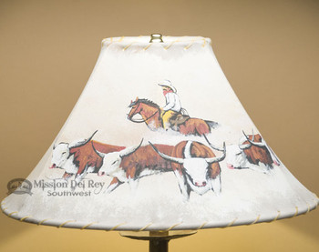 "16"" Painted Leather Lamp Shade - Cattle Drive"