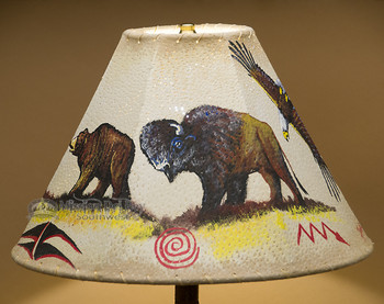 "15"" Painted Leather Lamp Shade - Bear & Buffalo"