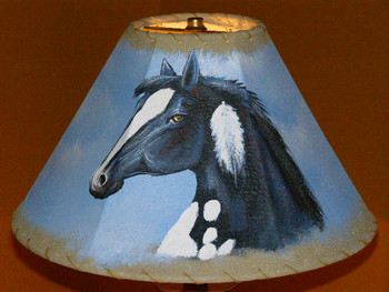 """14"""" Painted Leather Lamp Shade - Black Beauty"""