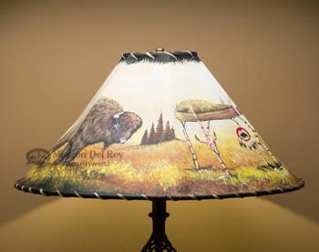 "20"" Painted Leather Lamp Shade -Buffalo"