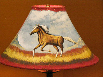 """Painted Leather Lamp Shade - 16"""" Horse"""