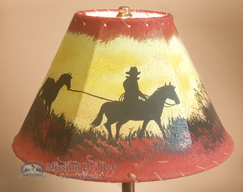 """Painted Leather Lamp Shade 12"""" -Trail Ride"""