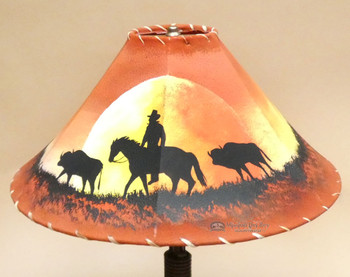 Painted Leather Lamp Shade -Moonlight Ride