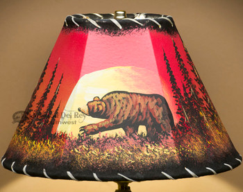 "Painted Leather Lamp Shade - 12"" -Moon Lit Bear"