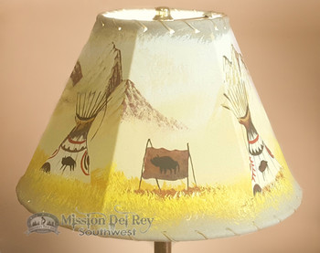 """Painted Leather Lamp Shade - 12"""" -Indian Village"""