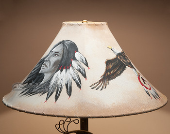 "Southwest Painted Leather Lamp Shade 20"" -Eagle"