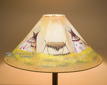 "Painted Leather Lamp Shade 24"" -Teepees"
